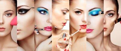 Fotomural Collage de la belleza. Caras de las mujeres. Foto de la manera. El artista del maquillaje aplica el lápiz labial y la sombra de ojo. Mujer, aplicación, perfume