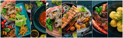Fotomural Collage de platos. Ensaladas, bocadillos y platos de carne y pescado. Sobre un fondo de madera. Vista superior.