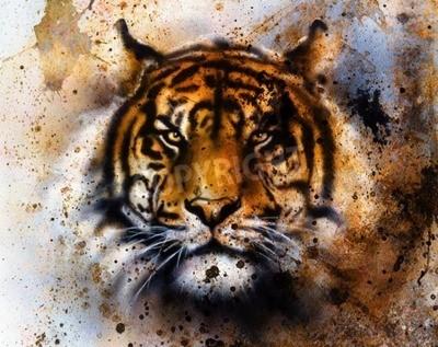 Fotomural Collage de tigre sobre fondo abstracto de color, estructura de óxido, animales de vida silvestre, contacto con los ojos.