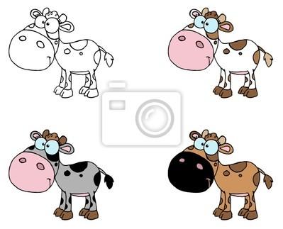 Collage digital de vacas seis bebés fotomural • fotomurales toon ...