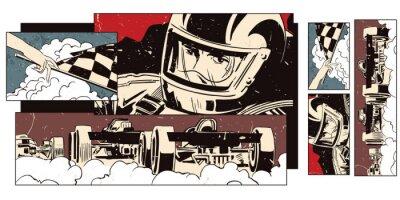 Fotomural Collage en el deporte del tema y las carreras de coches.