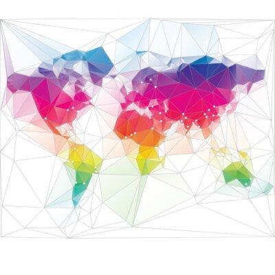 Fotomural color mapa del mundo de triángulo