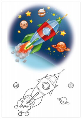 Fotomural coloración de la nave espacial