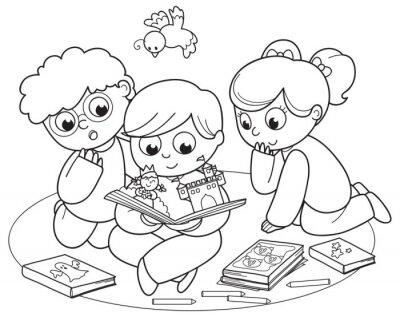 Fotomural Colorear la ilustración de los amigos que leen un libro pop-up juntos.