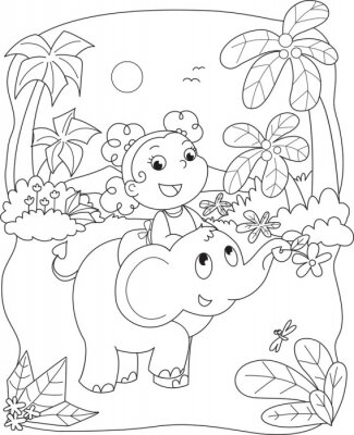 Fotomural Colorear la ilustración de una niña montando un elefante