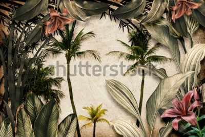 Fotomural Colored Tropical Flowers wallpaper illustration