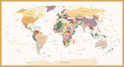 Fotomural Colores del vintage del mapa político altamente detall