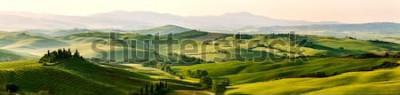 Fotomural Colores hermosos y milagrosos del paisaje verde del panorama de la primavera de Toscana, Italia.