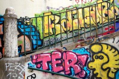Fotomural colorido graffiti en una pared