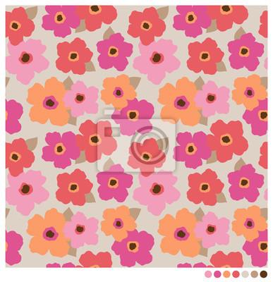 Fotomural Colorido patrón de flores sin fisuras vectoriales.