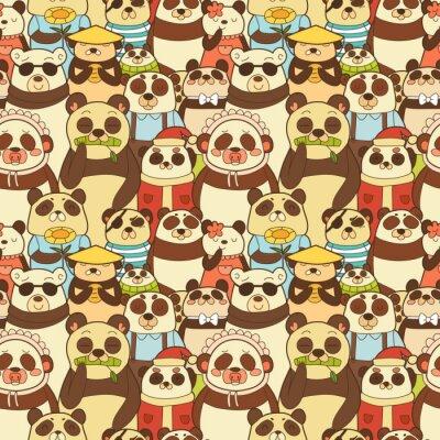 Fotomural Colorido patrón transparente con pandas divertidos