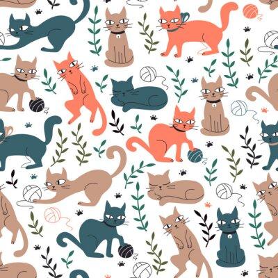 Fotomural Coloridos patrones sin fisuras con gatos y hojas.