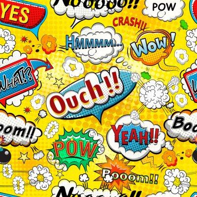 Fotomural Comic burbujas de discurso ilustración de patrón transparente
