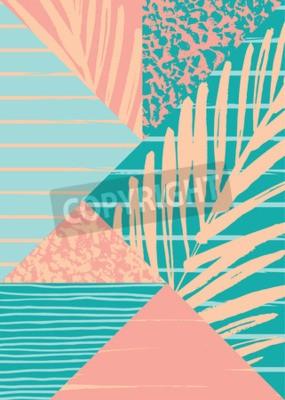 Fotomural Composición abstracta del verano con la textura dibujada mano de la vendimia y los elementos geométricos. Vector de plantilla para el cartel, la cubierta, el diseño de tarjetas y otros usuarios.