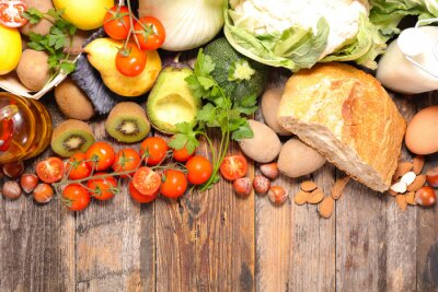 Fotomural Composición con dieta y alimentos saludables