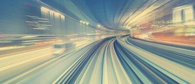 Fotomural Concepto de tecnología de alta velocidad a través de un monorraíl de Tokio