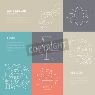 Fotomural Concepto de vector de vino que hace el proceso con diversos símbolos de la industria del vino incluyendo vidrio, uva, botella, corckscrew con el texto de la muestra. Fondo perfecto para el diseño viní