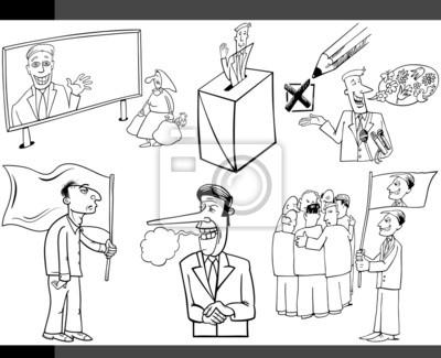 Conceptos Política De Dibujos Animados Conjunto Fotomural