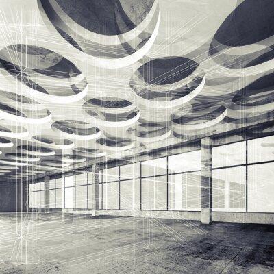 Fotomural Concreto interior y líneas de alambre-marco, ilustración 3d