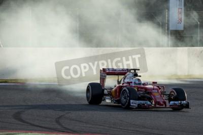 Fotomural Conductor Sebastian Vettel. Ferrari. Días de Prueba de Fórmula Uno en el Circuit de Catalunya. Montmelo, España. 2 de marzo de 2016
