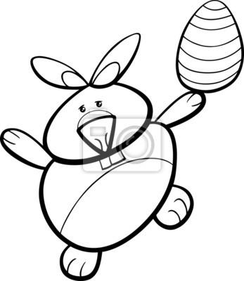 Conejito con el huevo de pascua para colorear fotomural ...