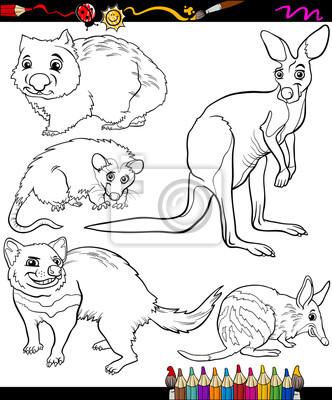 Conjunto de animales de libro para colorear dibujos animados ...