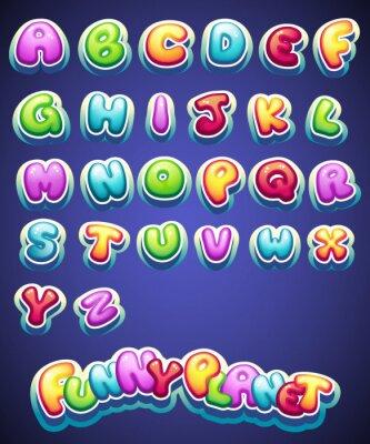 Fotomural Conjunto de cartas de color de dibujos animados para la decoración de nombres diferentes