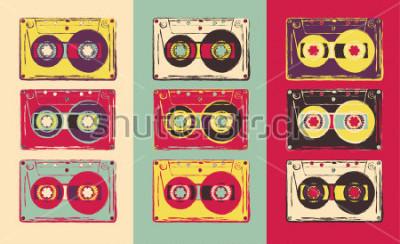Fotomural Conjunto de casetes de audio retro, estilo pop art. Imagen vectorial