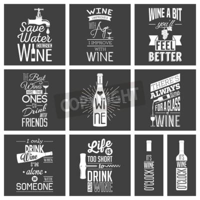 Fotomural Conjunto de citas tipográficas de vino vintage.
