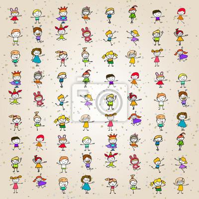 Conjunto de colorante dibujos animados de dibujos animados niños ...