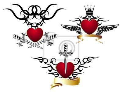 Conjunto De Corazones Cariñosos Con Espada Diseño Del Tatuaje