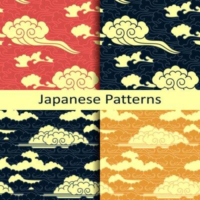 Fotomural Conjunto de cuatro patrones tradicionales japoneses