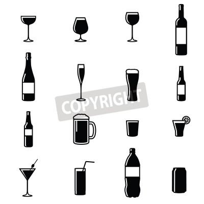 Fotomural Conjunto De Dieciséis Bebidas Negro Blanco Silueta Ilustraciones Vectoriales