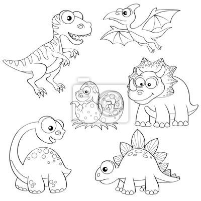 Conjunto de dinosaurios de dibujos animados. ilustración vectorial ...