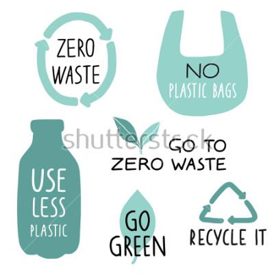 Fotomural Conjunto de elementos de ilustración ecológica y letras manuscritas. Recicle, use menos plástico, vaya verde. Lema de vida inútil cero, tipografía. Ilustracion vectorial