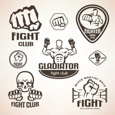 Fotomural Conjunto de emblemas de club de lucha, MMA, etiquetas de boxeo y bages