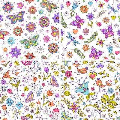 Fotomural Conjunto de fondos florales.
