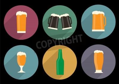 Fotomural Conjunto de iconos de cerveza plana con sombra larga