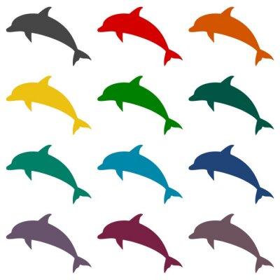 Fotomural Conjunto de iconos de delfines