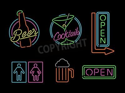 Fotomural Conjunto de iconos de signo de luz de neón de estilo retro para la barra, la cerveza, el negocio abierto, el cóctel y el símbolo de baño.