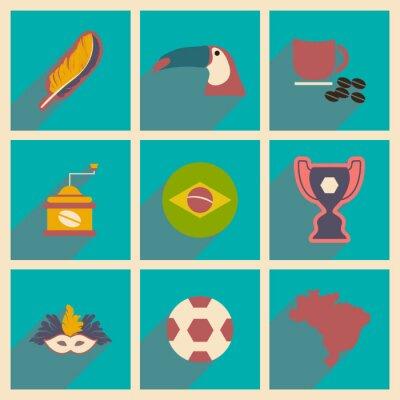 Fotomural Conjunto de iconos planos con sombra de largo Brasil