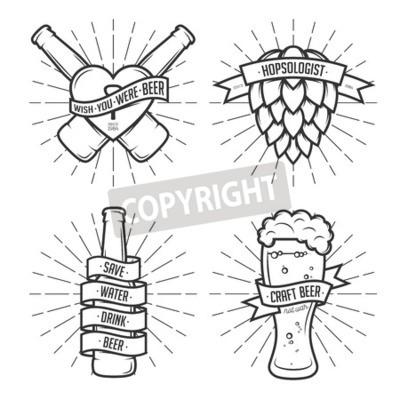 Fotomural Conjunto de impresiones de cerveza de camiseta. Etiquetas de cerveza, insignias, elementos de diseño. Cintas del vintage con citas divertidas. Frases sobre la cerveza.