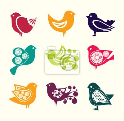Conjunto De Pájaros Del Doodle De Dibujos Animados Iconos Fotomural