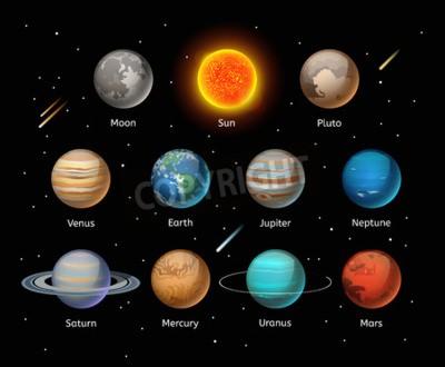 Fotomural Conjunto de vectores de colores de planetas sobre fondo oscuro, conjunto de vectores de planeta. Iconos del planeta 3d elementos infográficos. Silueta de la colección de los planetas. Planetas ilustra