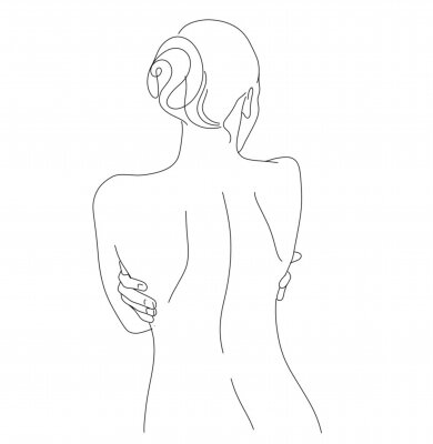 Fotomural Continuous line drawing. Woman body. Vector Illustration for spa, tshirt, nails, poster. vector image of a woman. one line sketch