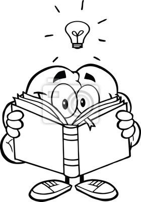 Contorno De Caracteres Cerebro Sonriente Que Lee Un Libro