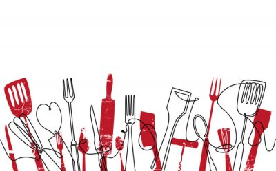 Fotomural Cooking Seamless Pattern. Outline Cutlery Background. Trendy One Line Drawing.  Isolated Kitchen Utensils. Cooking Design Poster. Vector illustration.