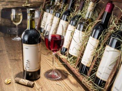 Fotomural Copa de vino y botella de vino.