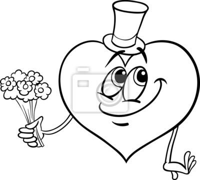 Corazón de san valentín con flores página para colorear fotomural ...