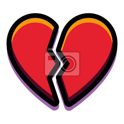 Corazón Roto De Dibujos Animados Aislado Sobre Fondo Blanco